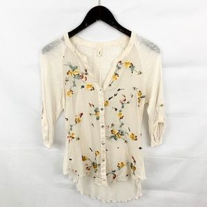 Anthropologie TINY Cream Floral Button Down Blouse